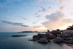 Grand Father Rock in sunset, The major tourist attraction of Koh Samui, Thailand. Grand Father Rock called Hin Ta in sunset, The major tourist attraction of Koh stock photo