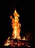 Grand feu dans l'obscurité Images libres de droits