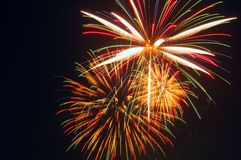 Grand finale bursts. Fireworks display: Multicolored bursts of the grand finale Royalty Free Stock Image