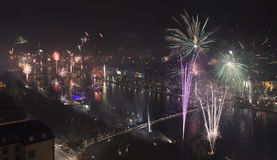 Grand Firework aerial New Years Eve Royalty Free Stock Image
