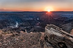 The Grand Fish River Canyon of Namibia royalty free stock photography
