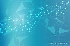 Grand fond de visualisation de données Fond abstrait virtuel futuriste moderne Modèle de réseau de la Science, se reliant illustration de vecteur