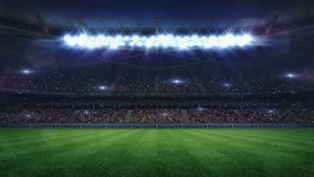 Free Grand Football Stadium Middle View Illuminated By Spotlights And Empty Green Grass Stock Photography - 139174532