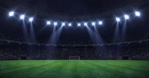 Grand football stadium at night with light moving as seamless loop