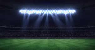 Grand football stadium at night with light moving cones as seamless loop stock video footage