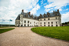 Grand French Castle. Garden and castle at Chateau d Amboise, France Royalty Free Stock Photos