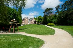 Grand French Castle. Grand gardens at Parc Leonardo da Vinci, France Royalty Free Stock Image