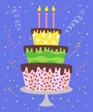Grand gâteau avec des bougies illustration stock