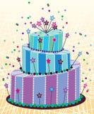 Grand gâteau d'anniversaire illustration de vecteur