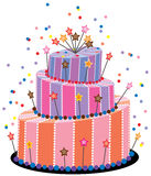 Grand gâteau d'anniversaire illustration stock