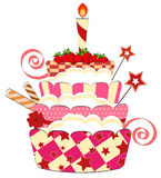Grand gâteau d'anniversaire de fraise Photos libres de droits