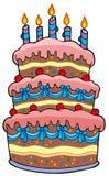 Grand gâteau de dessin animé avec des bougies illustration de vecteur