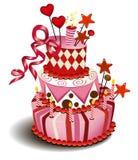 Grand gâteau rose Images libres de droits