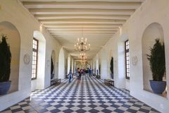 Grand gallery interior of Chenonceau castle in Loire valley, France royalty free stock images