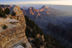 Grand Ganyon, North Rim, Wotan Throne. Wotan throne lit by the setting sun - the path to Bright Angel Viewpoint is on the left. North Rim of Gran Canyon, Arizona Royalty Free Stock Images
