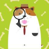 Grand gros chien mignon de Jack Russell comme détective Illustration Stock