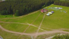 Grand groupe aérien de beaux garçons et de filles d'enfants courant avec des enfants en parc Été insouciant d'activité de cerf-vo Photos libres de droits