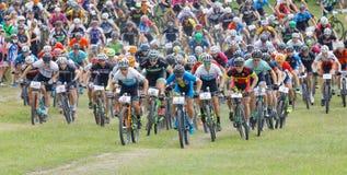 Grand groupe de cyclistes de combat de mountainbike faisant un cycle vers le haut Image libre de droits