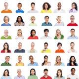 Grand groupe de personnes diverses sur le fond blanc Photographie stock libre de droits
