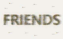 Grand groupe de personnes formant les amis ou le texte de lettrage d'amitié dans le concept social de médias et de communauté sur illustration libre de droits