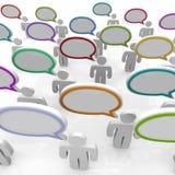 Grand groupe de personnes parlant - bulles de la parole Images stock