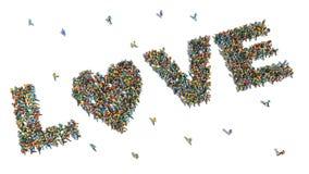 Grand groupe de personnes vus d'en haut recueilli ensemble Image libre de droits