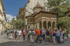 Grand groupe de touristes Photo stock