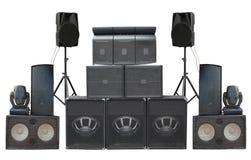 Grand groupe de vieil isolat puissant industriel de haut-parleurs de bruit d'étape Photo stock