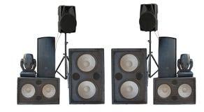 Grand groupe de vieil isolat puissant industriel de haut-parleurs de bruit d'étape Photographie stock libre de droits