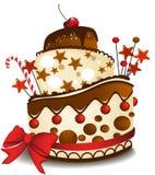 Grand gâteau de chocolat Photos libres de droits