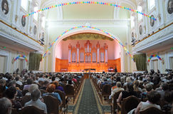 Grand hall of the Moscow Tchaikovsky Conservatory Stock Photo