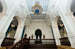 Grand hall in old majestic palace Stock Photos