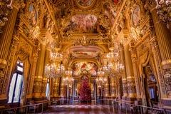 Grand hall of Opera Garnier. Paris, France. Historic hall in Paris opera Building royalty free stock photography