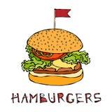 Grand hamburger avec le drapeau Lettrage d'hamburger D'isolement sur un fond blanc Vecteur tiré par la main de croquis de griffon illustration stock