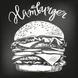 Grand hamburger, croquis tiré par la main d'illustration de vecteur d'hamburger menu de craie Rétro type illustration de vecteur