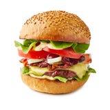 Grand hamburger juteux d'isolement sur le fond blanc photos libres de droits