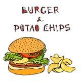 Grand hamburger ou cheeseburger, tasse de bière ou pinte et pommes chips Logo d'hamburger D'isolement sur un fond blanc réaliste Photo stock