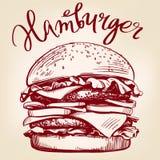 Grand hamburger, style de vecteur d'hamburger rétro de croquis tiré par la main d'illustration illustration libre de droits