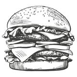 Grand hamburger, style de vecteur d'hamburger rétro de croquis tiré par la main d'illustration illustration stock