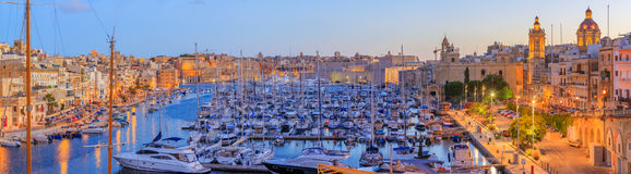 Grand Harbor in Malta. View to Grand Harbor at sunrise from Birgu, Malta Royalty Free Stock Photos