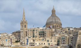 Valletta historic harbour view Malta. The Grand Harbour also known as the Port of Valletta, is a natural harbour on the island of Malta Royalty Free Stock Image