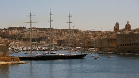 Grand Harbour , Valetta , Malta. Biggest sailing yacht in the world maltese Falcon, anchored in Grand Harbour - Valletta Royalty Free Stock Photography