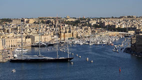 Grand Harbour , Valetta , Malta. Biggest sailing yacht in the world maltese Falcon, anchored in Grand Harbour - Valletta Stock Images