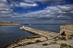 Grand Harbour Entrance. The entrance to one of the most beautiful harbours in the world. The Grand Harbour in Malta. Here as seen from Fort Ricasoli in Kalkara Stock Images