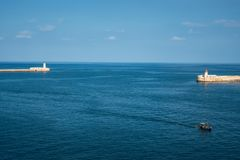Grand Harbour entrance stock image