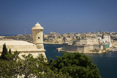 Grand Harbour and fort in Valletta, Malta. Watchtower and fort St. Angelo in Grand Harbour of Valletta, Malta Royalty Free Stock Photo