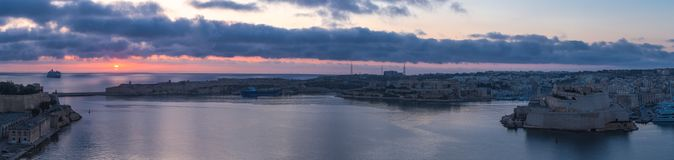 Grand Harbour panorama at sunrise, Valletta, Malta. EU Stock Photography