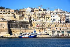The Grand Harbour and city buildings, Valletta. Grand harbour seen from Vittoriosa, Valletta, Malta, Europe Royalty Free Stock Photos