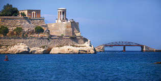 The Grand Harbour with St. Christopher Bastion and new Breakwate Royalty Free Stock Photo