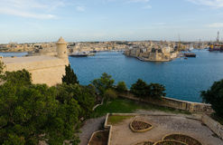 Grand Harbour at sunset in Malta Royalty Free Stock Photo